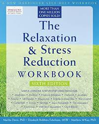 """Book cover of blue sky and green grass with title """"The Relaxation & Stress Reduction Workbook"""""""
