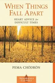 """Book cover of forest with orange-yellow leaves with title """"When Things Fall Apart: Heart advice for difficult times"""" by Pema Chodron"""