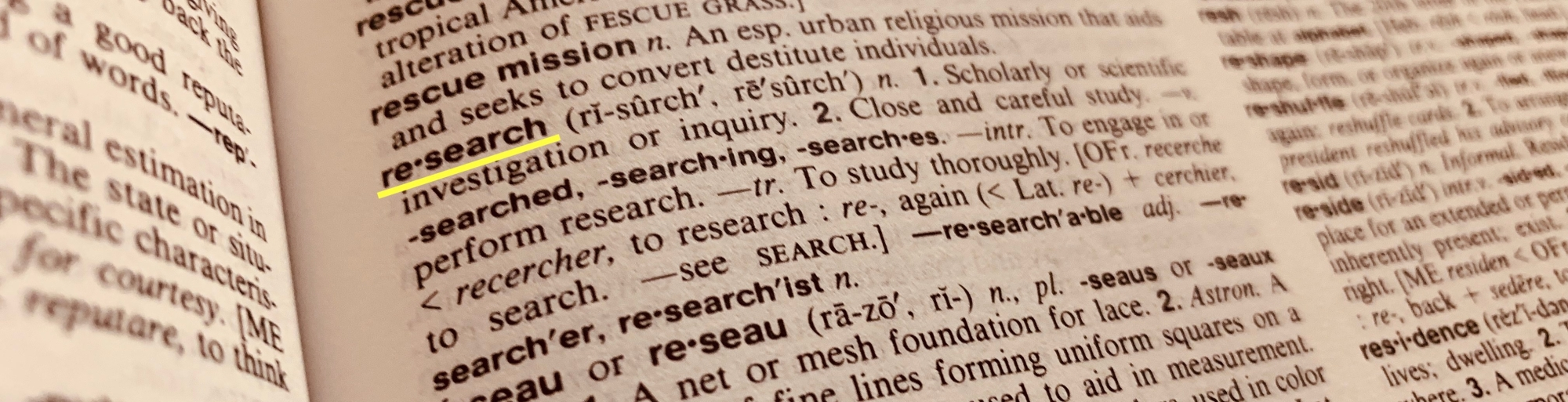 "Dictionary definition of ""research"""